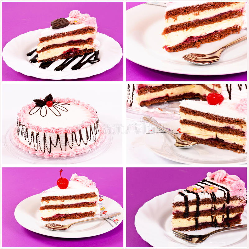 Download Cake collage stock photo. Image of creamy, berry, mint - 26847614