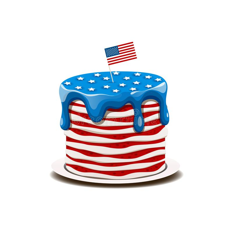 Cake in the colors of the American flag with stars and stripes stock photography