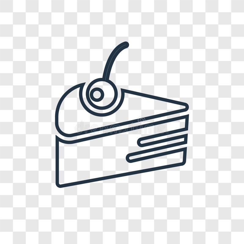 Cake concept vector linear icon isolated on transparent background, Cake concept transparency logo in outline style. Cake concept vector linear icon isolated on royalty free illustration