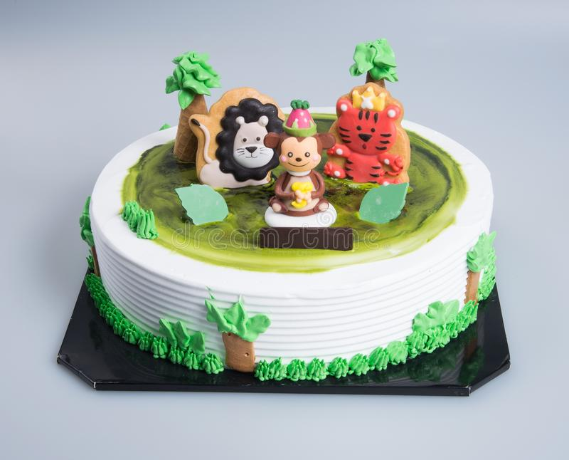 cake or Creative animals themed cake on a background. stock photo