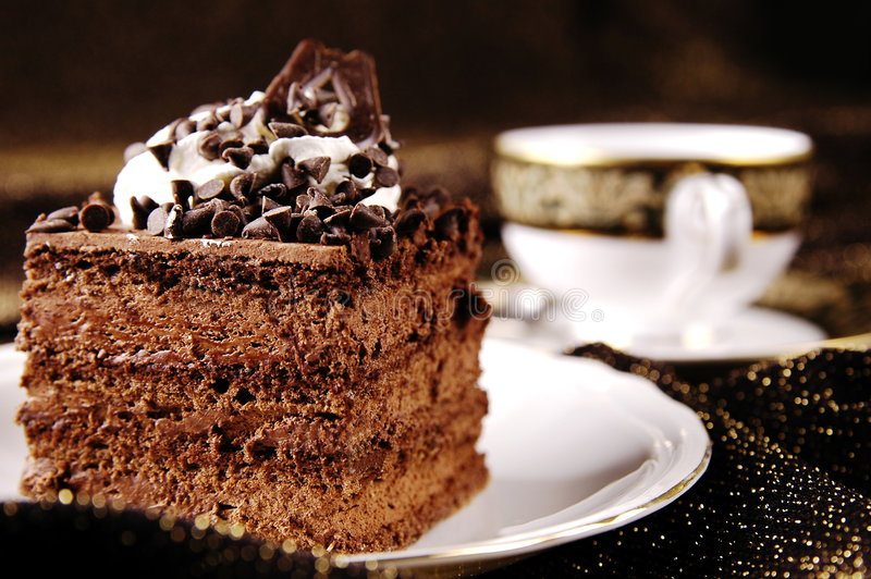 Cake with cup of coffee or tea stock image