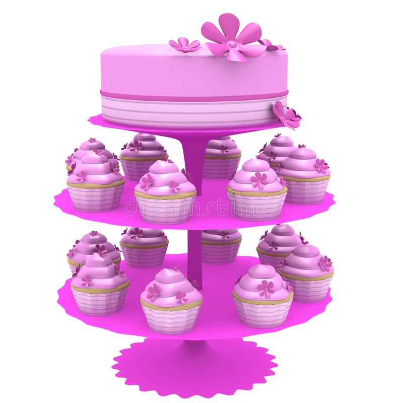 Cake and cupcakes - 3d generated vector illustration