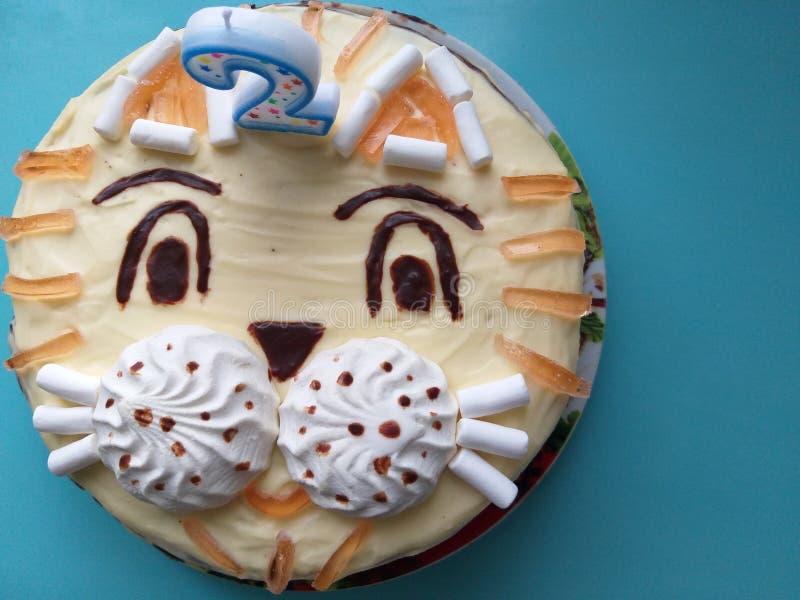 Cake in de chocolade van de vormtijger voor jonge geitjes royalty-vrije stock fotografie
