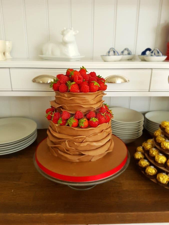 Cake de op twee niveaus van de melkchocolaruche met bessen stock afbeeldingen