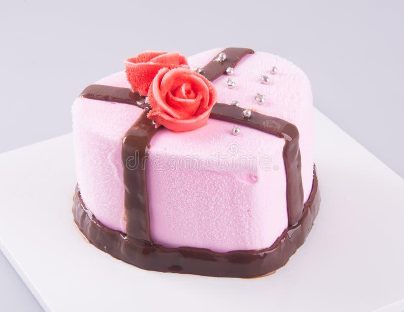 Cake, de cake van het aardbeiroomijs op de achtergrond royalty-vrije stock foto's