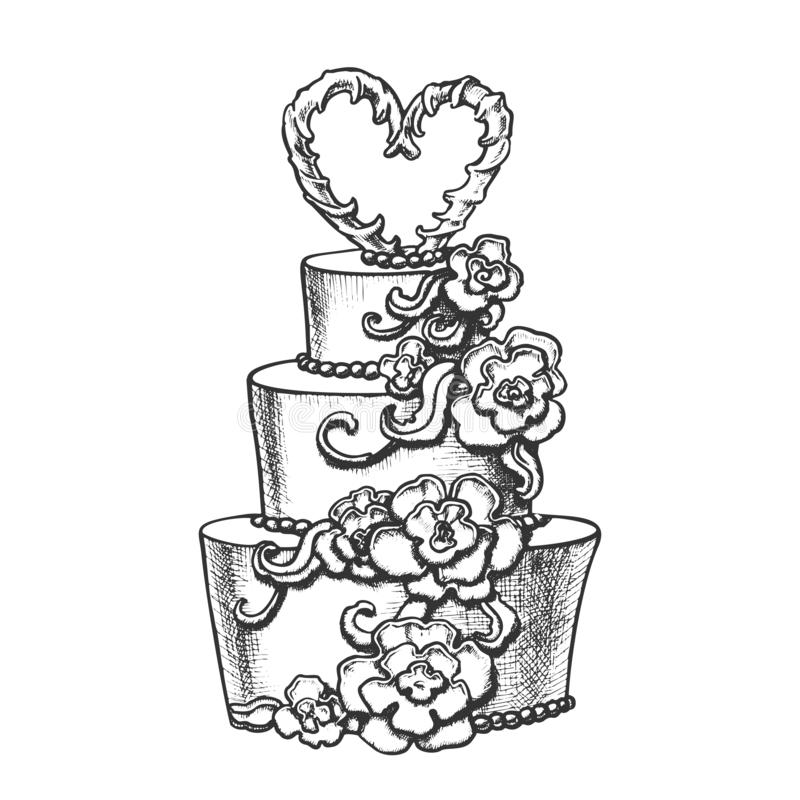 Cake Decorated Flowers And Heart On Top Ink Vector vector illustration