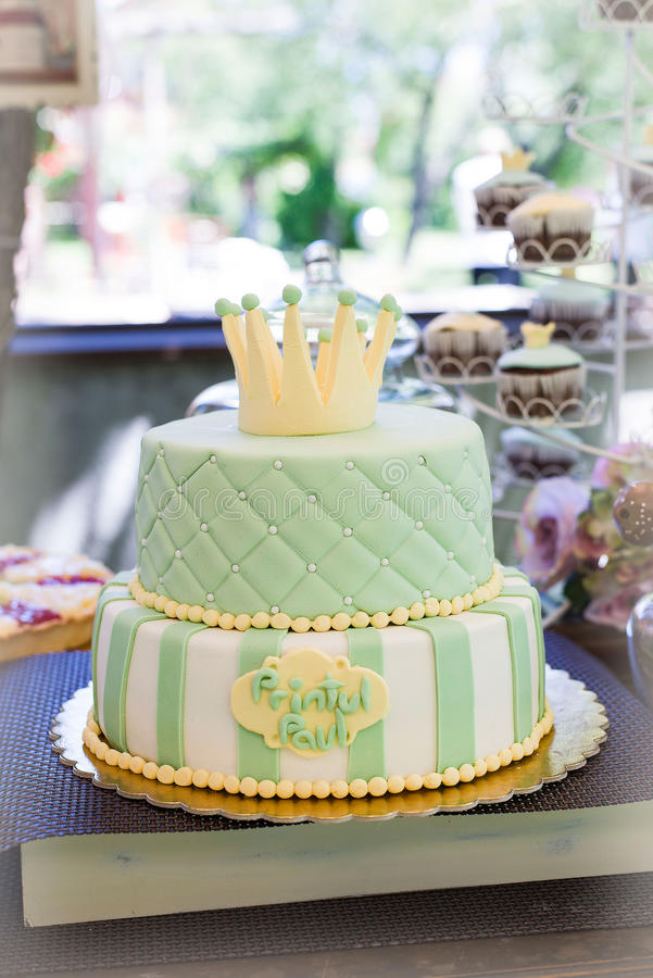 Cake. Decorated with fondant. Candy bar stock images