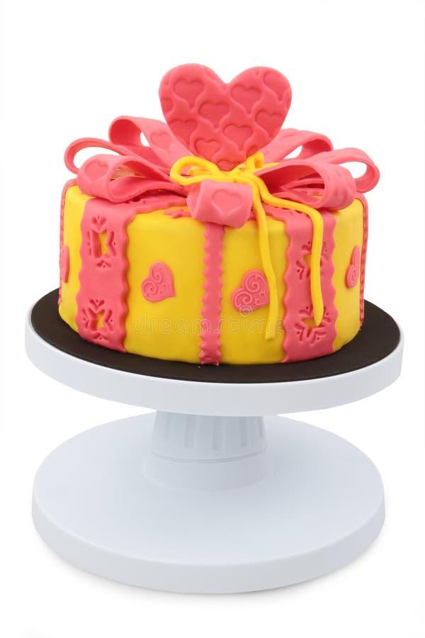 Cake. Decorated with fondant - isolated white background royalty free stock photo