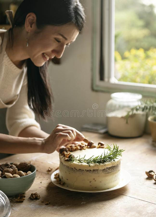 Cake decorated with nuts food photography recipe stock photography