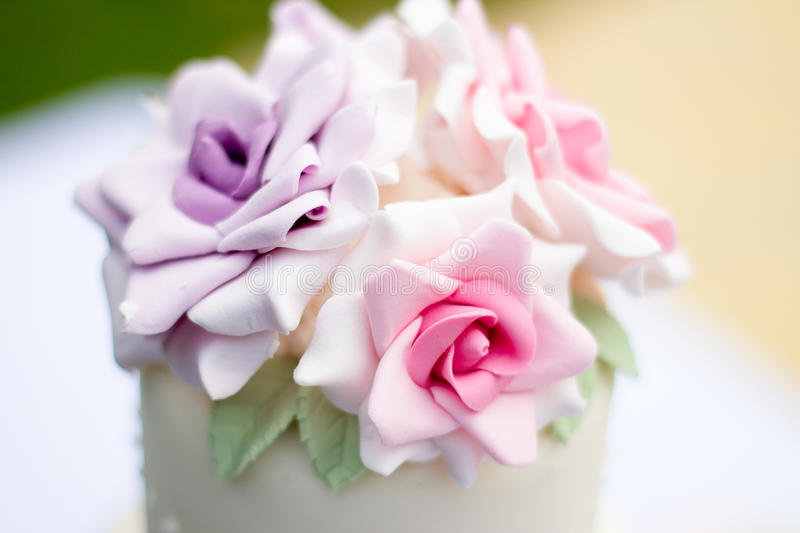 Cake decorated with roses. stock photos