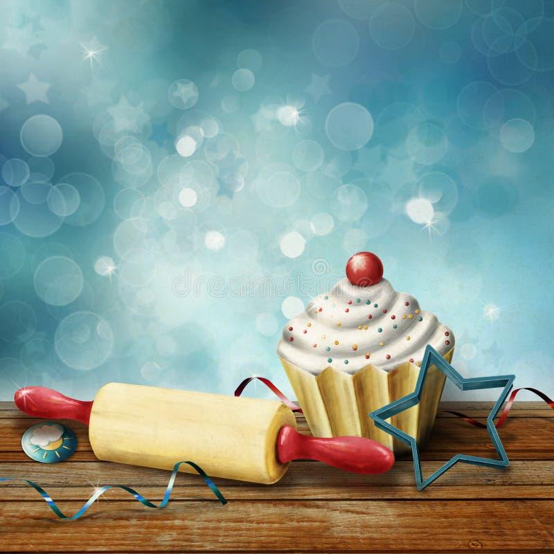 Cake, deegrol, vormen voor baksel, suikergoed en kronkelweg op de achtergrond bokeh stock afbeeldingen