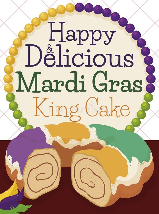 Cake del rey, plumas y collar colorido para celebrar a Mardi Gras, ejemplo del vector ilustración del vector