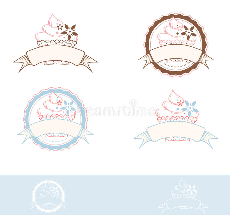 Cake Design. Cake Emblem Design Collection, Copyspace stock illustration