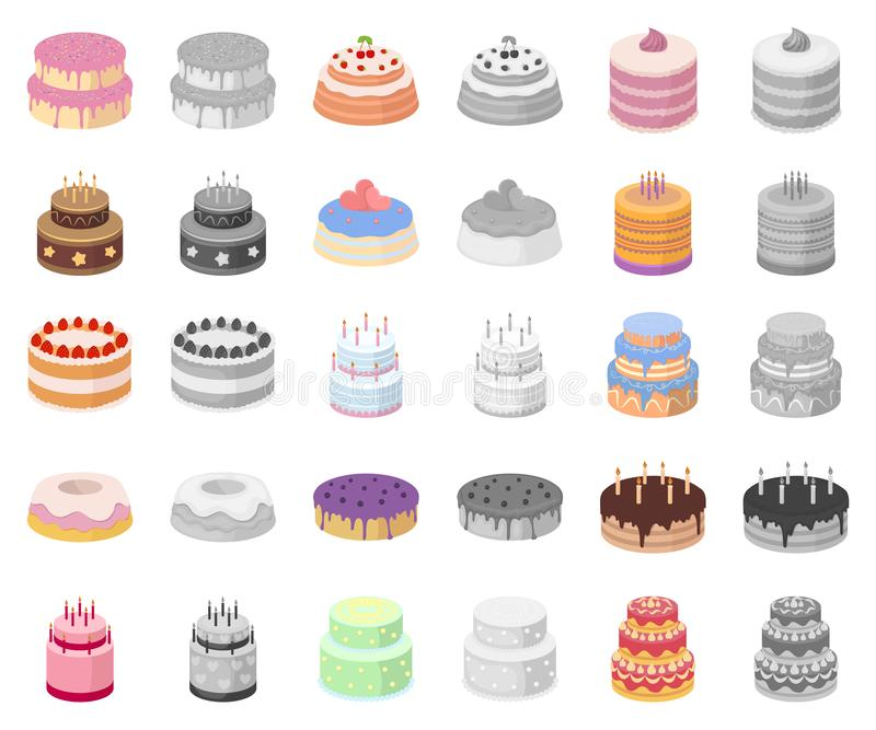 Cute Bakery Shop Logo Template Design Collection Set: Cake And Dessert Outline Icons In Set Collection For