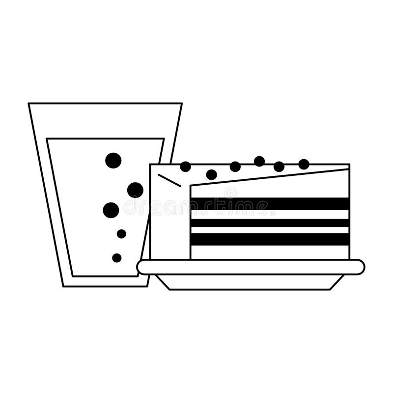 Cake and drink desserts black and white. Cake and drink desserts cartoons vector illustration graphic design stock illustration