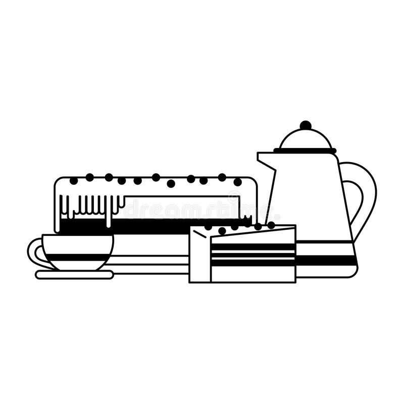 Cake and drink desserts black and white. Cake and drink desserts cartoons vector illustration graphic design royalty free illustration