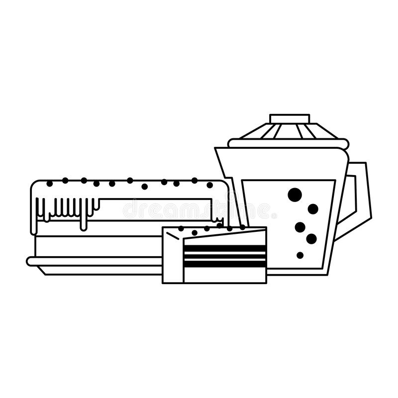Cake and drink desserts black and white. Cake and drink desserts cartoons vector illustration graphic design vector illustration