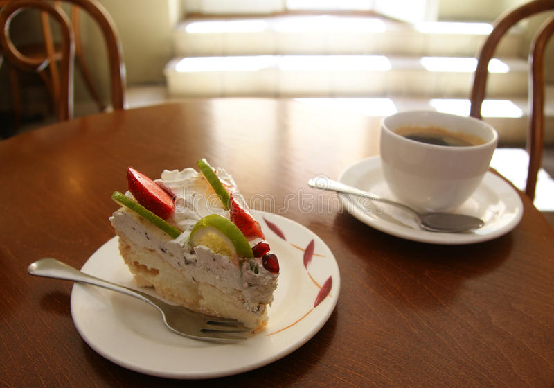 Cake en koffie royalty-vrije stock foto's