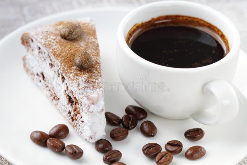 Cake en kop van koffie royalty-vrije stock afbeeldingen