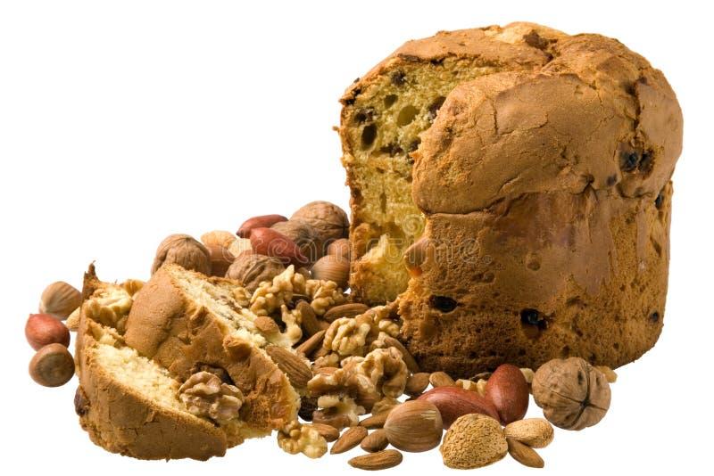 Cake en noten royalty-vrije stock afbeeldingen