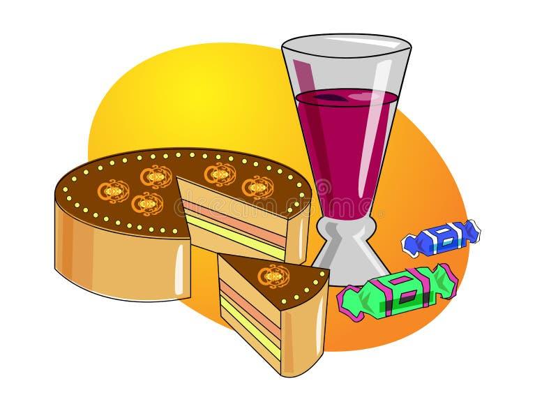 Cake en sap stock illustratie