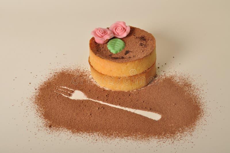 Cake en vork stock foto