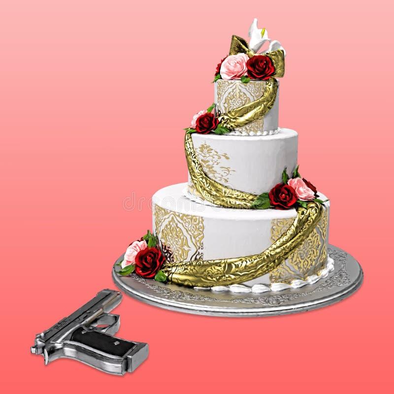 Cake en Zilveren Kanon royalty-vrije illustratie