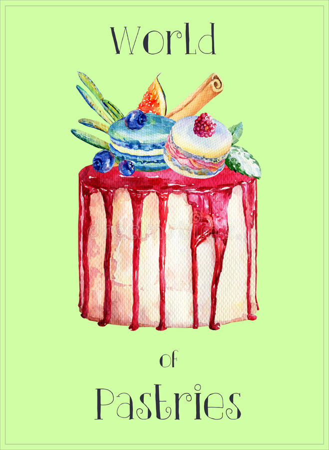 Cake with fig, blueberries, macaroons and drenched with frosting. Watercolor illustration of tasty food stock illustration