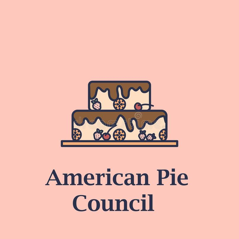 Logo for American Pie Council. Cake in flat design with text below - American Pie Council. American Pie Council logo royalty free illustration