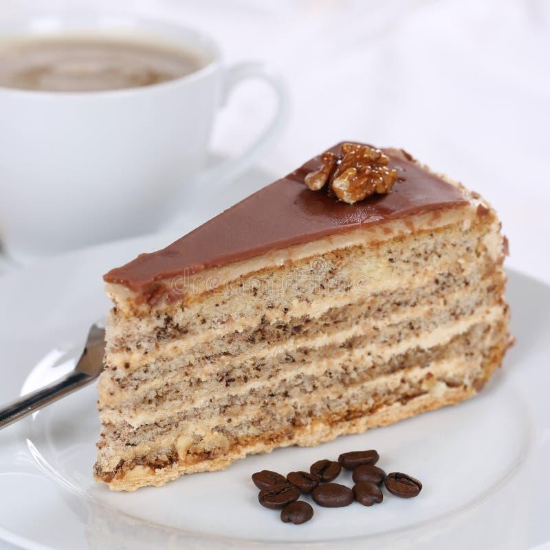 Cake and fresh coffee tart dessert. Sweet pastry stock image