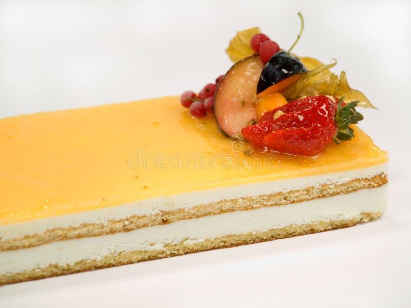 Cake fruit with cream stock photos