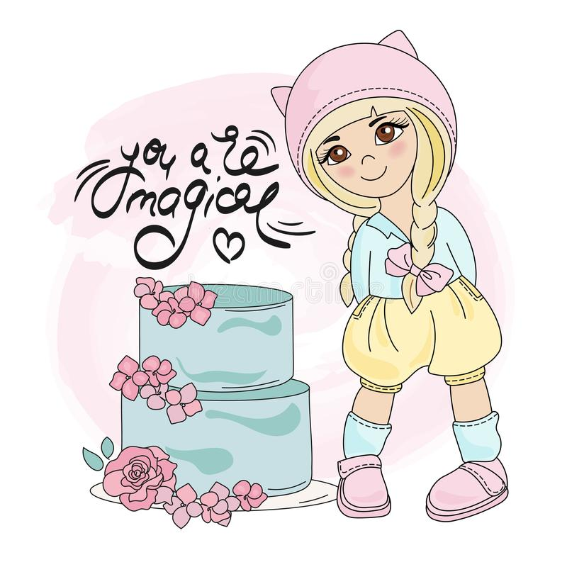 CAKE GIRL Color Vector Illustration Set. For Scrapbooking and Digital Print on Card and Photo Children's Albums royalty free illustration