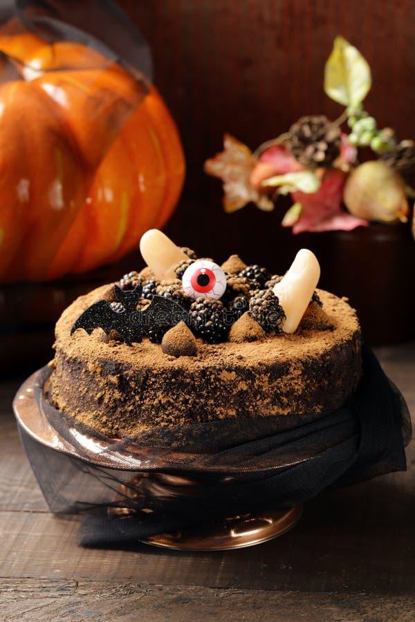 Cake with halloween decor royalty free stock photos