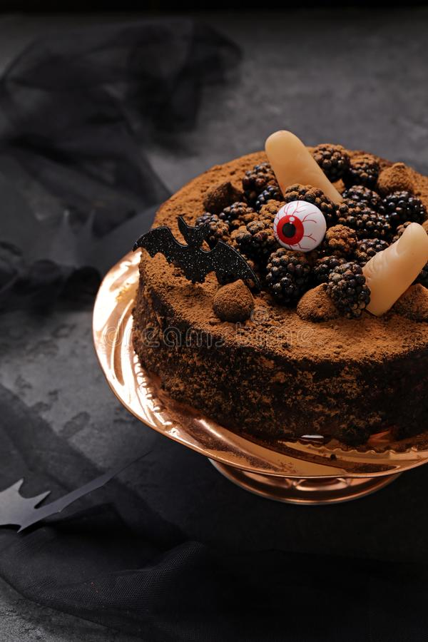 Cake with halloween decor royalty free stock photo