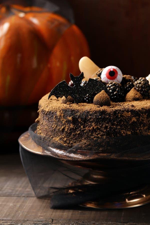 Cake with halloween decor stock photo