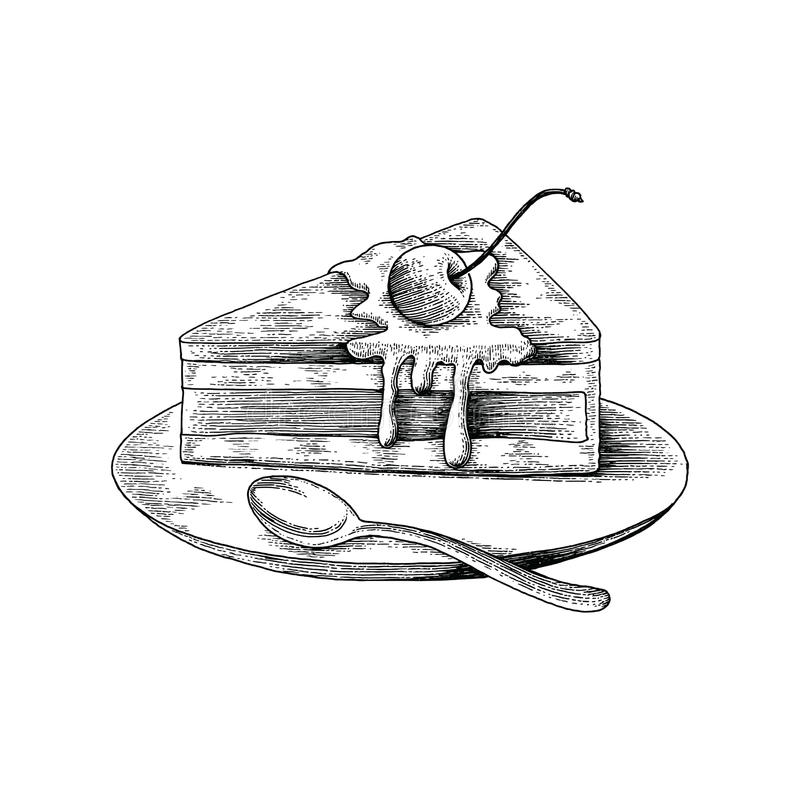 Cake hand drawing antique style on white background. Isolated on white background vector illustration