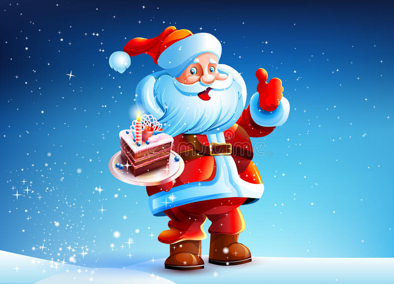 Cake in the hands of Santa Claus vector illustration