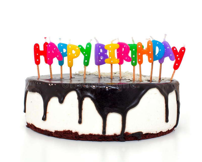 Cake With Happy Birthday Candles Stock Photo Image Of