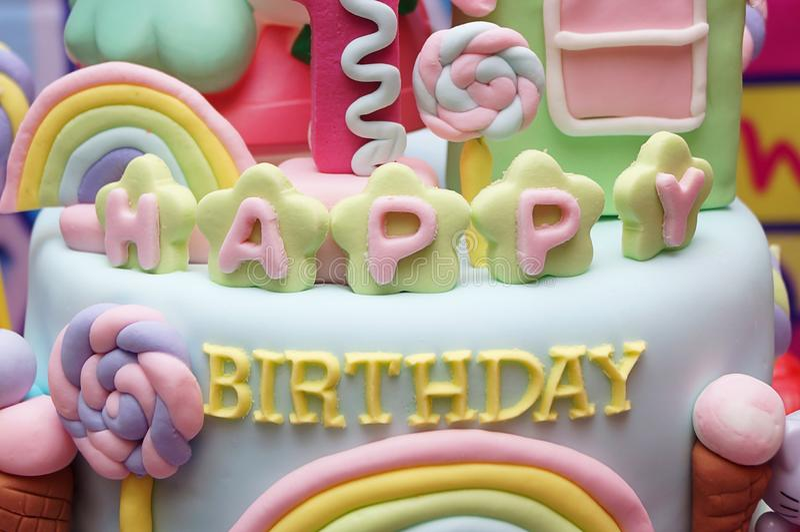 Happy Birthday. Cake with happy birthday text made of sugar stock photo
