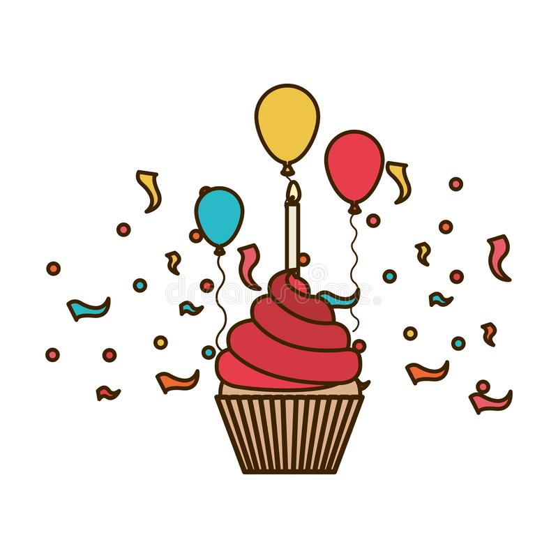 Cake of happy birthday on white background. Vector illustration design stock images