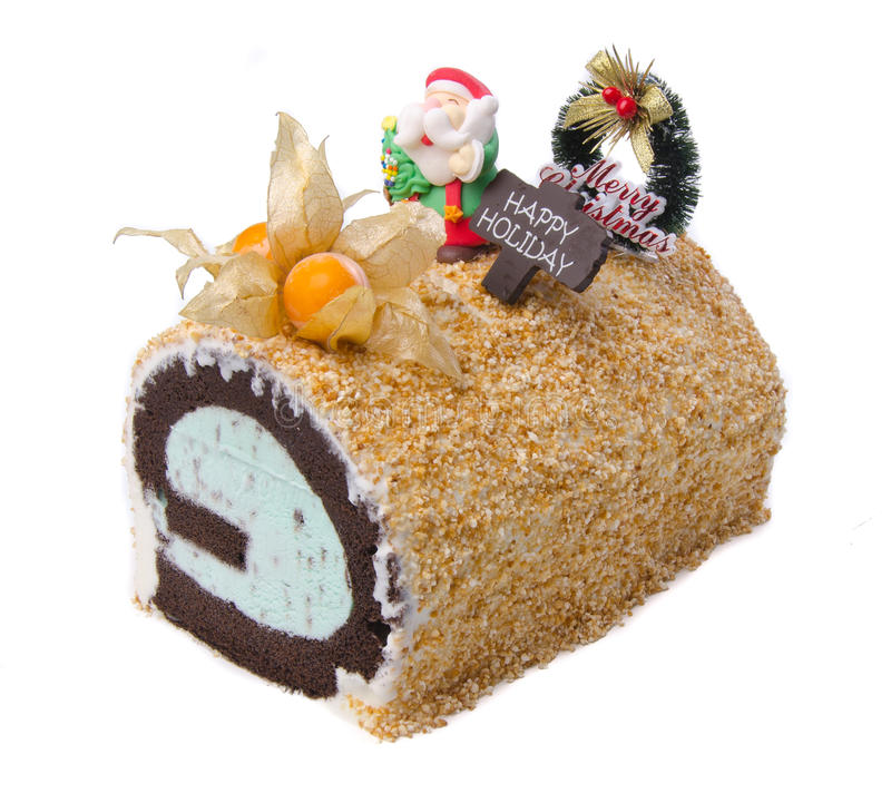 Cake, het roomijscake van Kerstmis royalty-vrije stock foto's