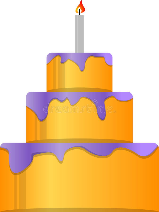 Cake. Holiday cake with candle. EPS 10 vector illustration