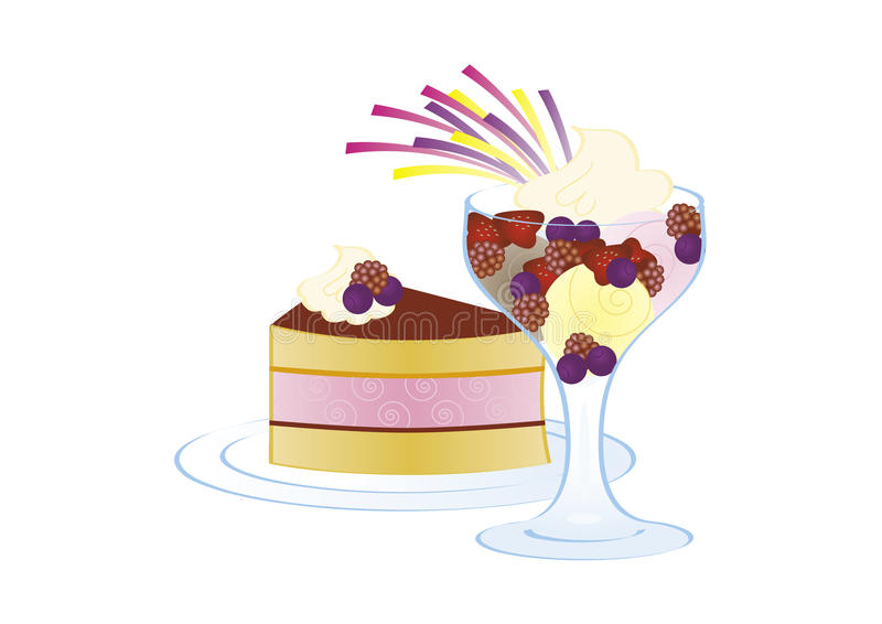 Cake And Ice Cream With Fruits Royalty Free Stock Image