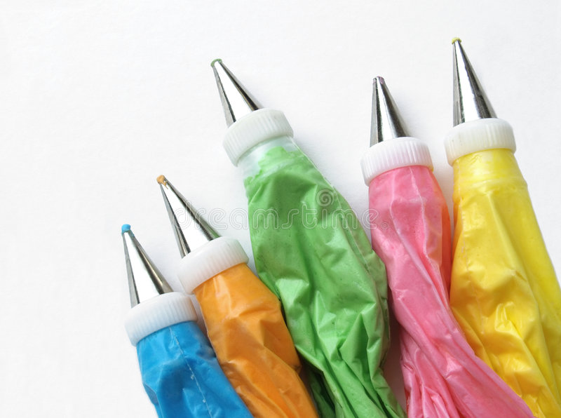 Cake icing bags royalty free stock images