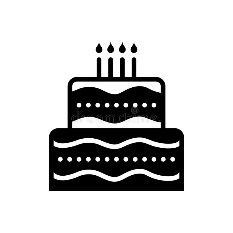 Black solid icon for Cake, birthday and candle royalty free illustration
