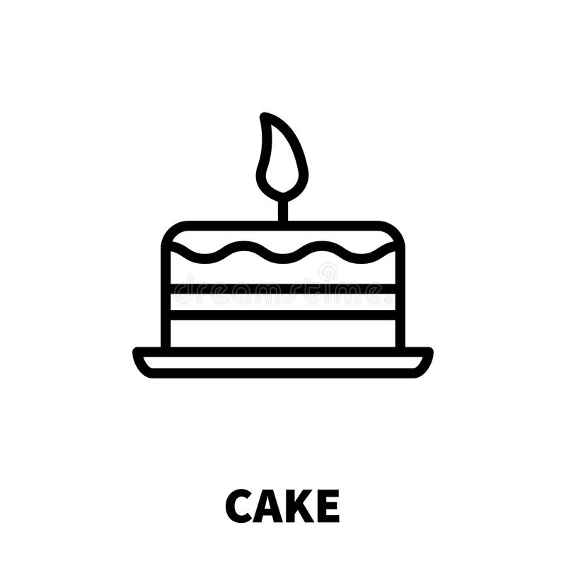Cake Icon Or Logo In Modern Line Style Stock Vector