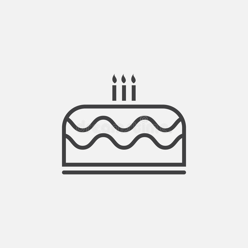 Cake icon vector on white royalty free illustration
