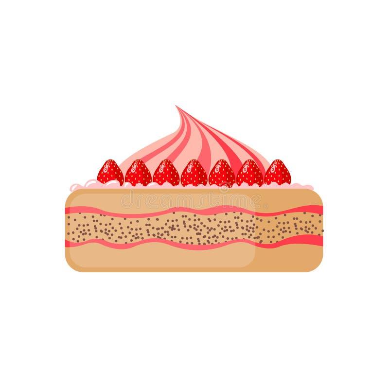 Cake icon on white background. Cake icon in flat style on white background. Vector illustration royalty free illustration