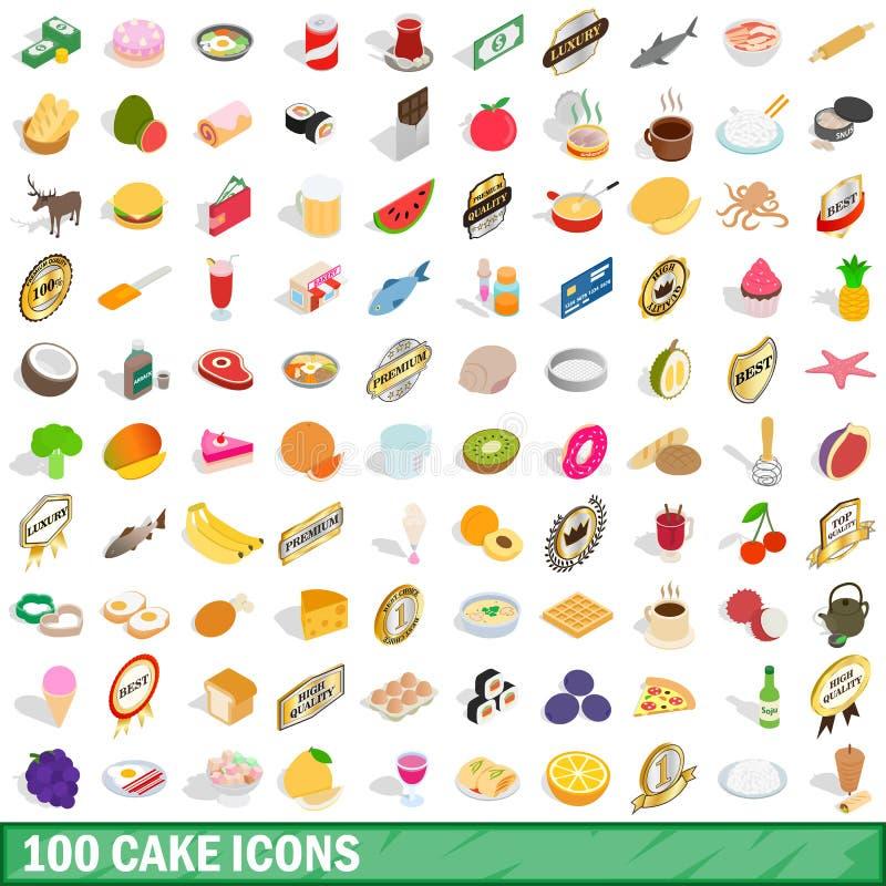 100 cake icons set, isometric 3d style royalty free illustration