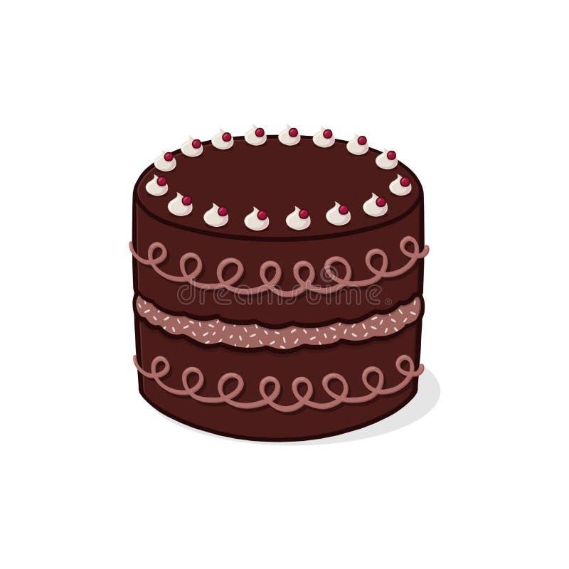 Cake illustration. Decorated chocolate cake illustration; Birthday cake stock illustration